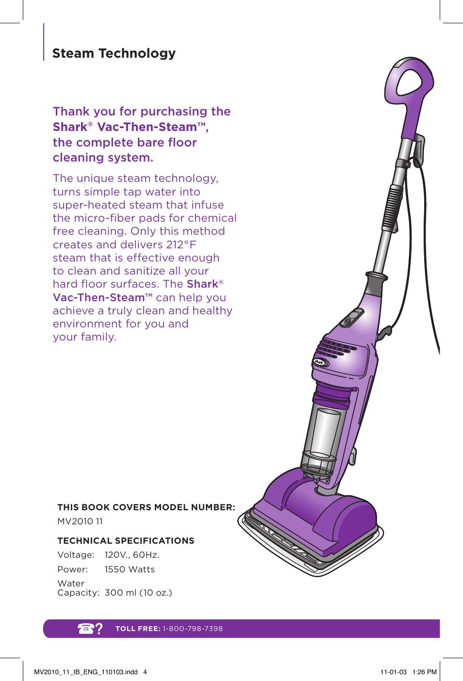 Steam Technology Shark Vac Then Steam Mv2010 User Manual