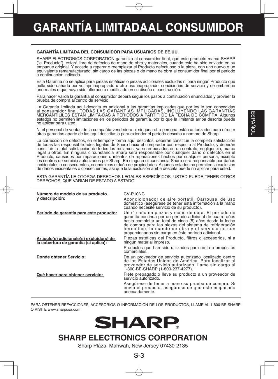 garant a limitadaal consumidor sharp electronics corporation rh manualsdir com Manual Sharp Atomic Clock SPC 891 Microwave Oven Sharp R 308J