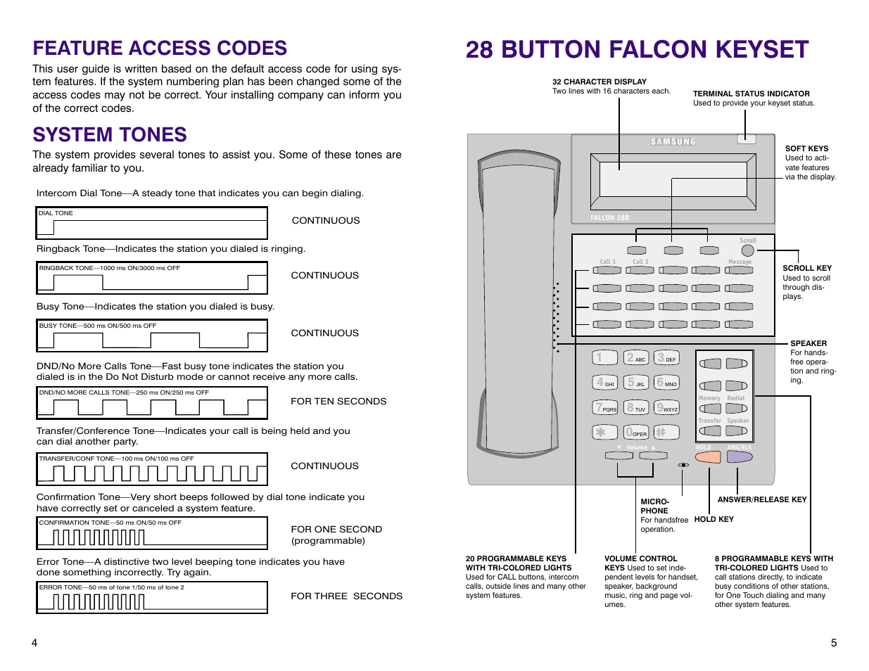 28 button falcon keyset, Feature access codes, System tones