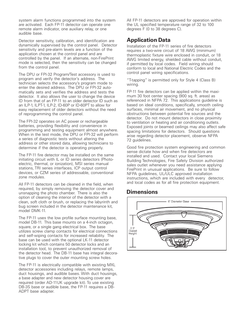 Application data, Diions | Sie FP-11 User Manual ... on