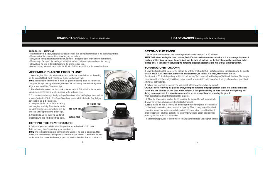 usage basics sharper image super wave oven 8217si user manual rh manualsdir com Super Wave Oven Recipe Book Super Wave Cooking Times