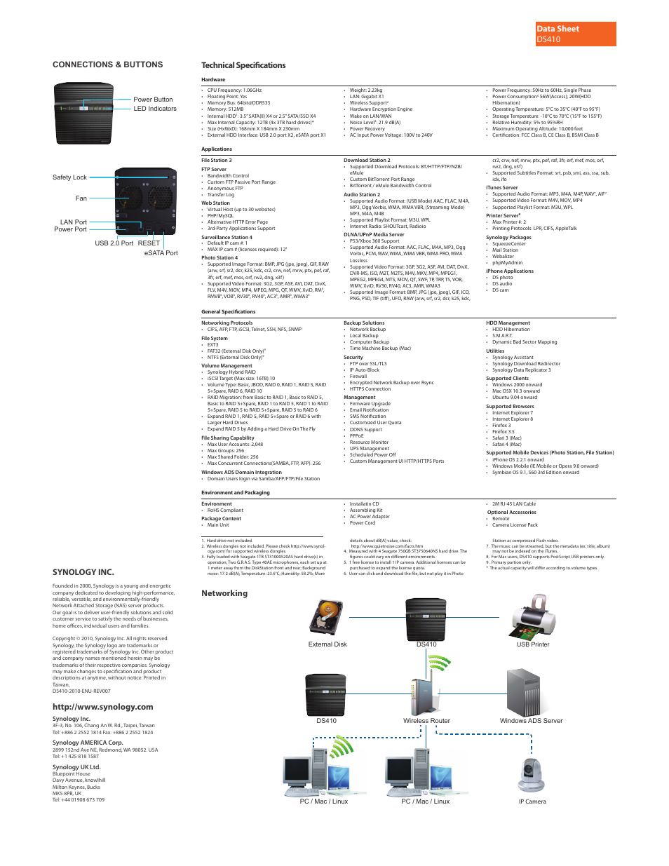 Data sheet ds410, Networking, Synology inc | Synology DS410