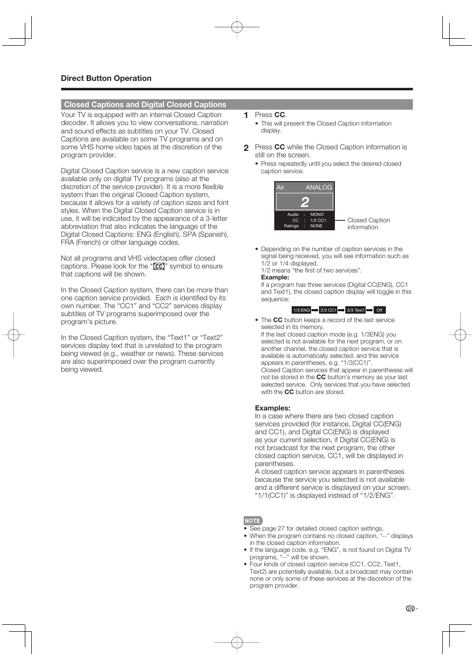 direct button operation closed captions and digital closed captions rh manualsdir com Sharp Compet QS-2760H Sharp ManualsOnline