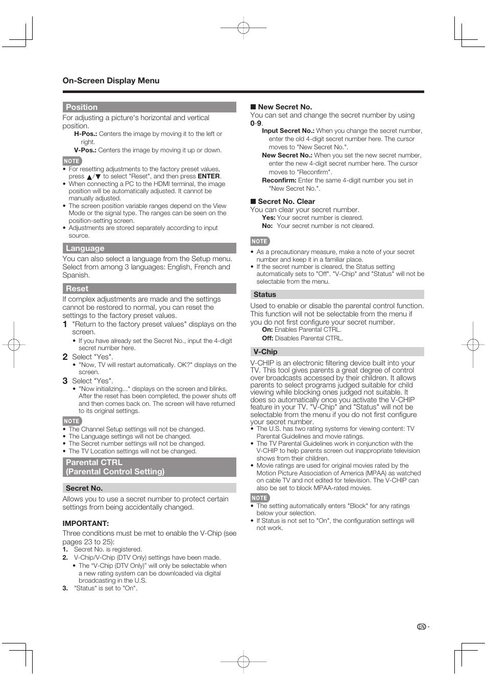 position language reset sharp aquos lc 37d64u user manual page rh manualsdir com sharp aquos lc37d64u manual Sharp Compet QS-2760H