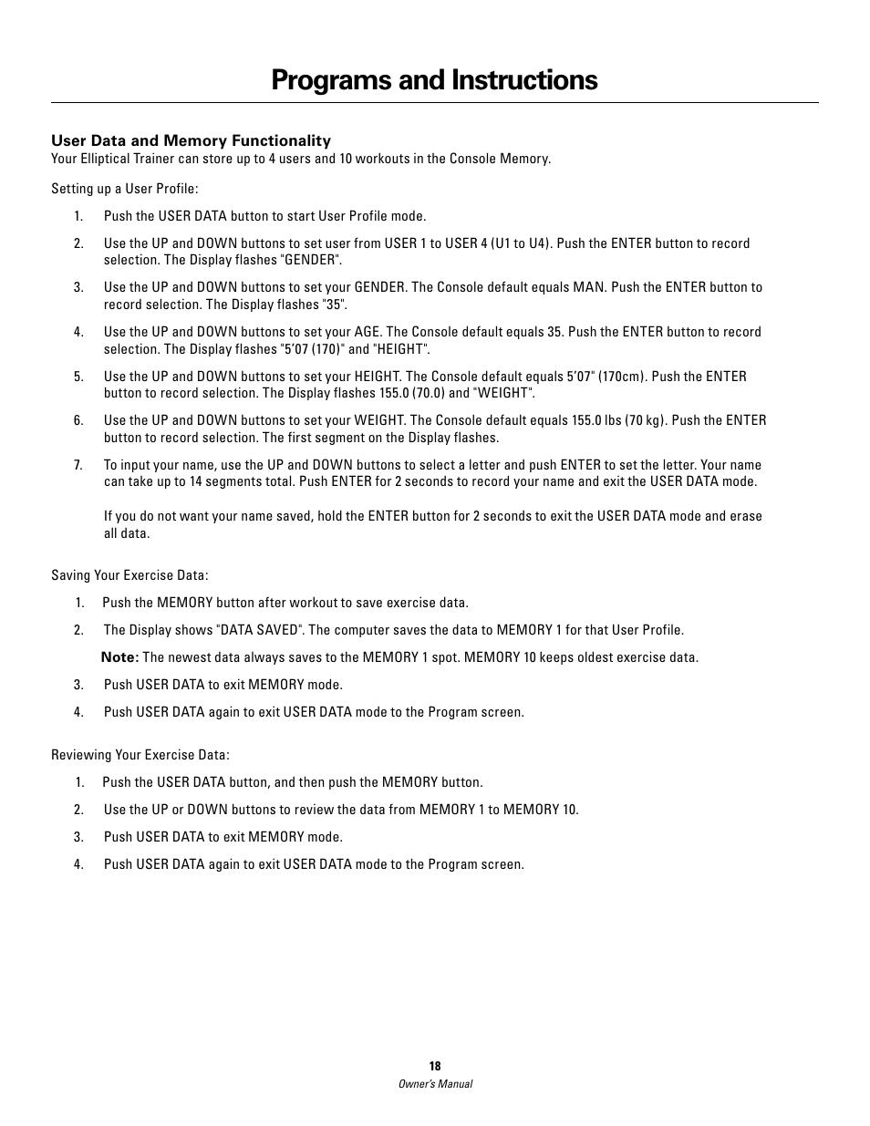 programs and instructions schwinn 420 user manual page 18 24 rh manualsdir com Schwinn 420 Elliptical Schwinn 420 Elliptical