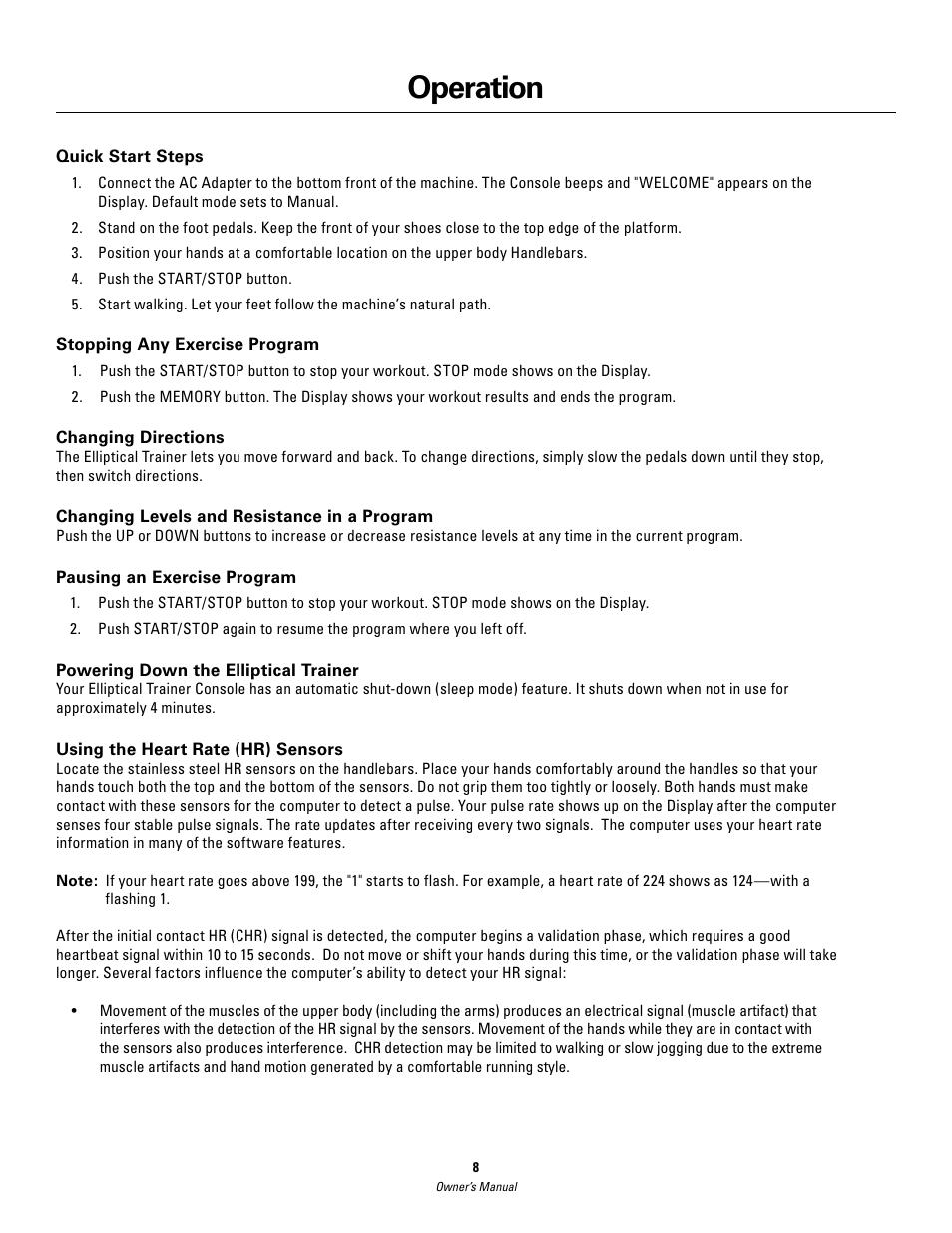 operation schwinn 420 user manual page 8 24 rh manualsdir com Schwinn 430 Elliptical Manual PDF Schwinn 420 Elliptical