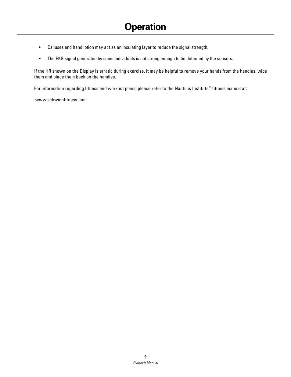 operation schwinn 420 user manual page 9 24 rh manualsdir com Schwinn 420 Elliptical Schwinn 430 Elliptical Manual PDF