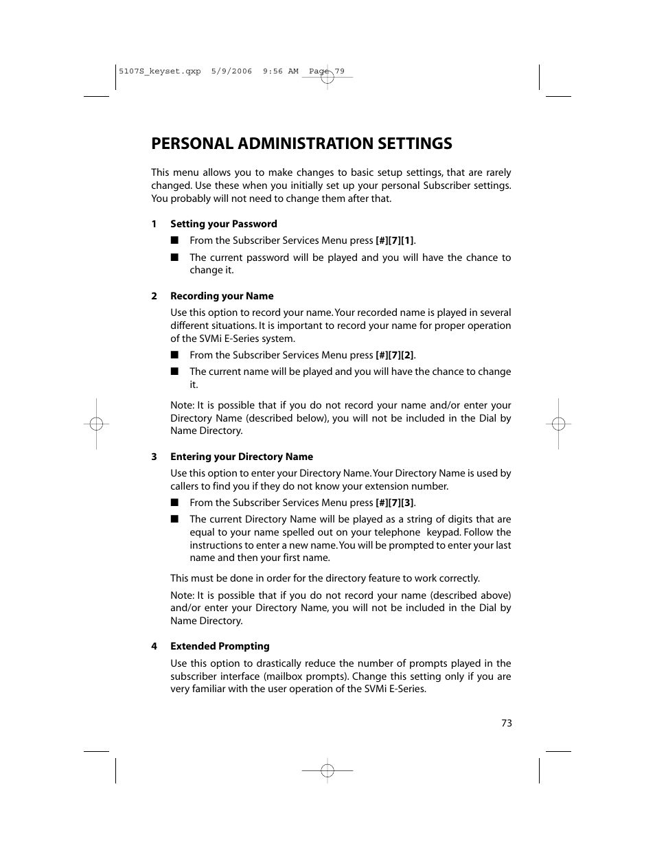 Personal administration settings | Samsung ITP-5107SIP User