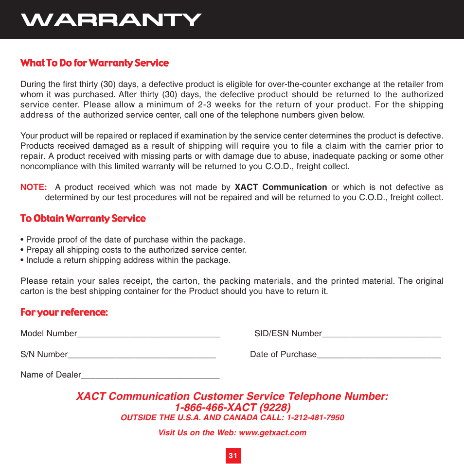 Warranty | Sirius Satellite Radio XTR3CK User Manual | Page