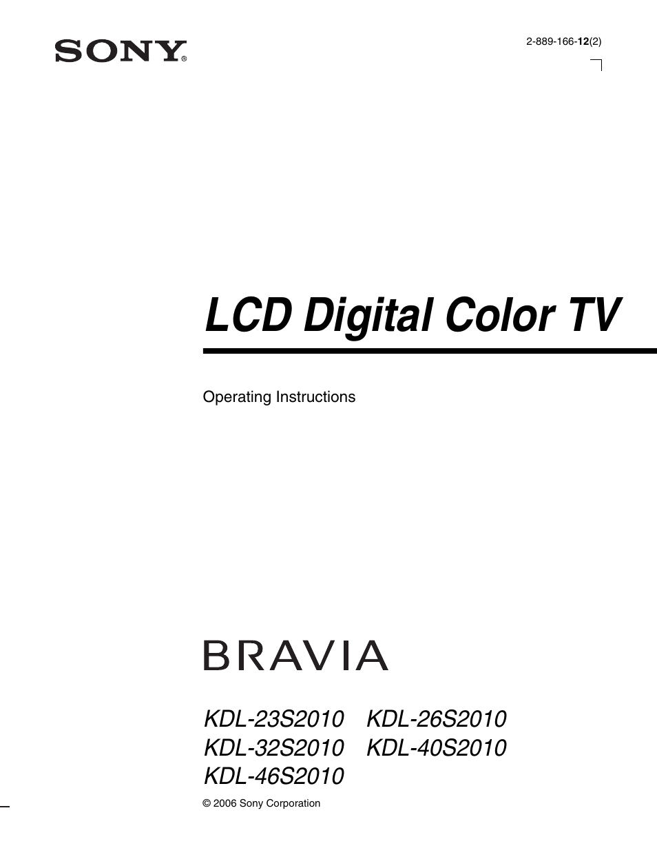 sony bravia kdl 26s2010 user manual 48 pages also for kdl rh manualsdir com sony lcd digital color tv setup guide Sony LCD Projection TV