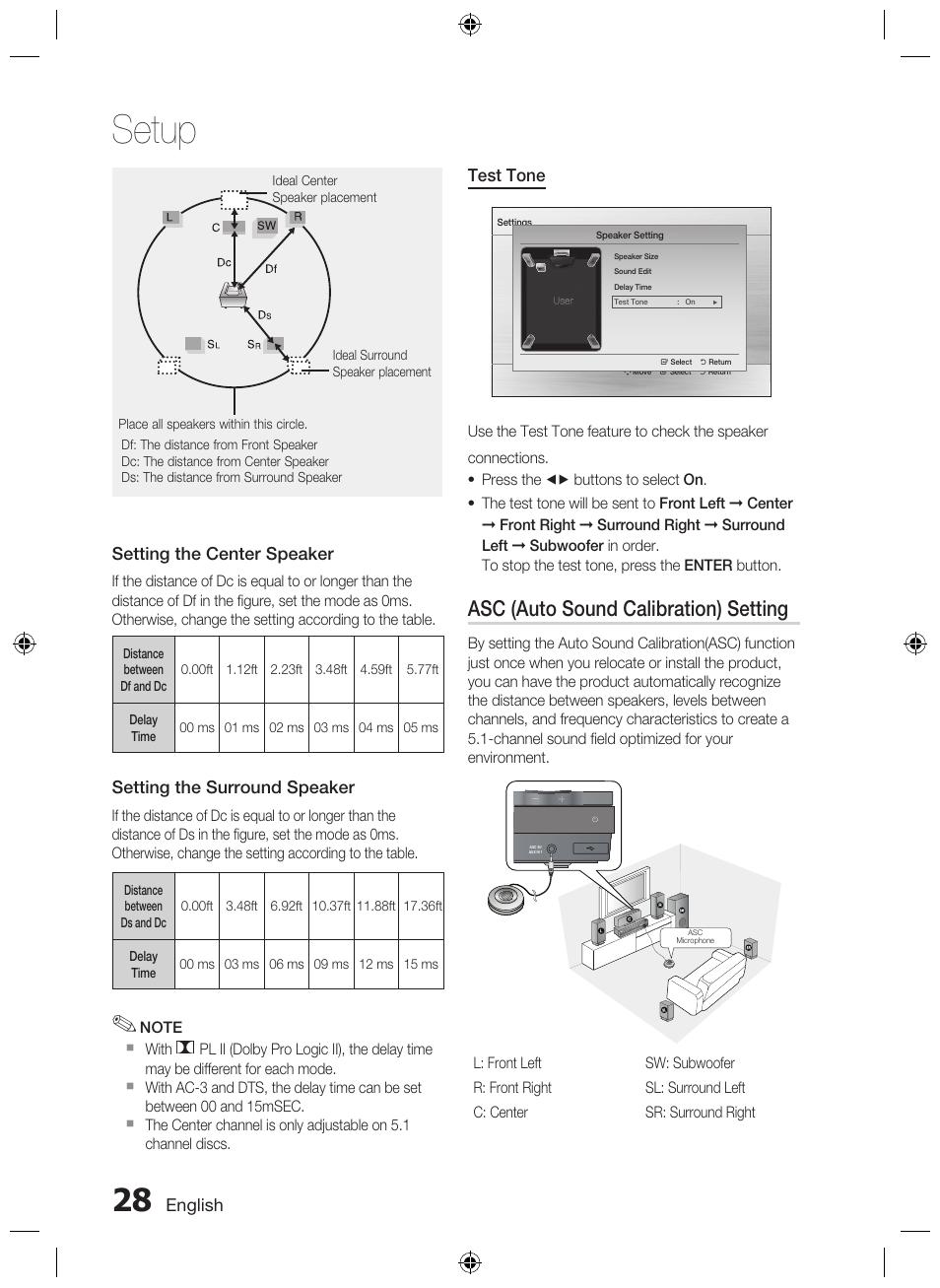 Setup, Asc (auto sound calibration) setting | Samsung AH68-02333R User  Manual