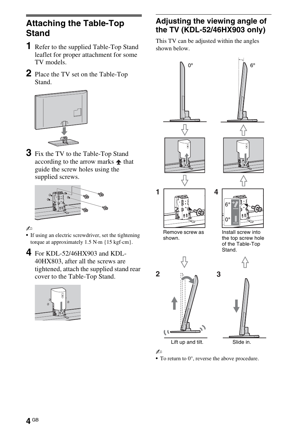 Setting Up Attaching The Table Top Stand Sony Bravia 4 180 175 11