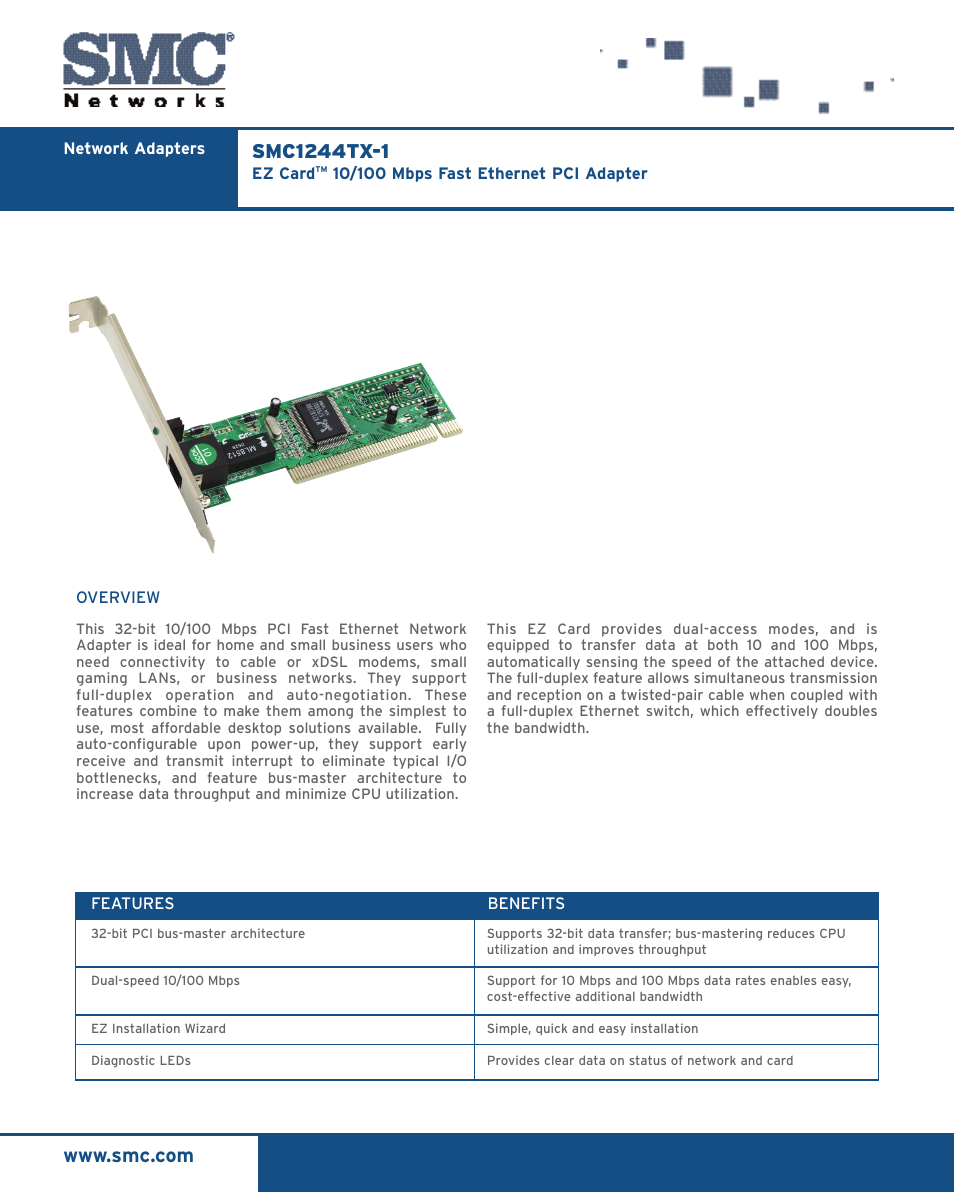 smc networks ez card 10 100 smc1244tx 1 user manual 2 pages Transfer Switch Wiring Diagram with Circuit Breaker