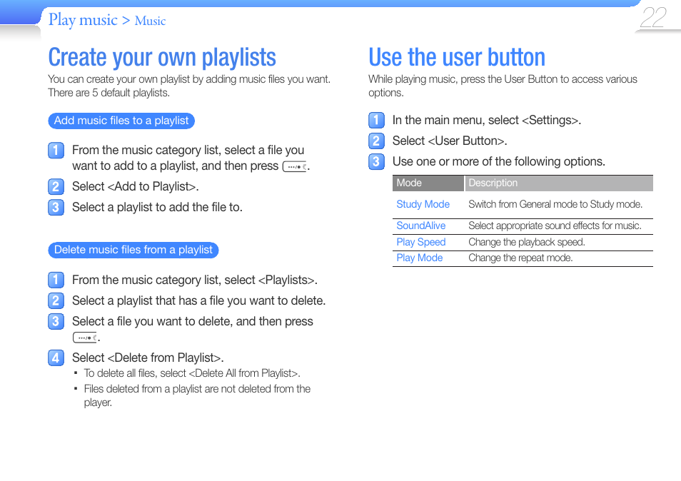 Create your own playlists, Use the user button, Play music