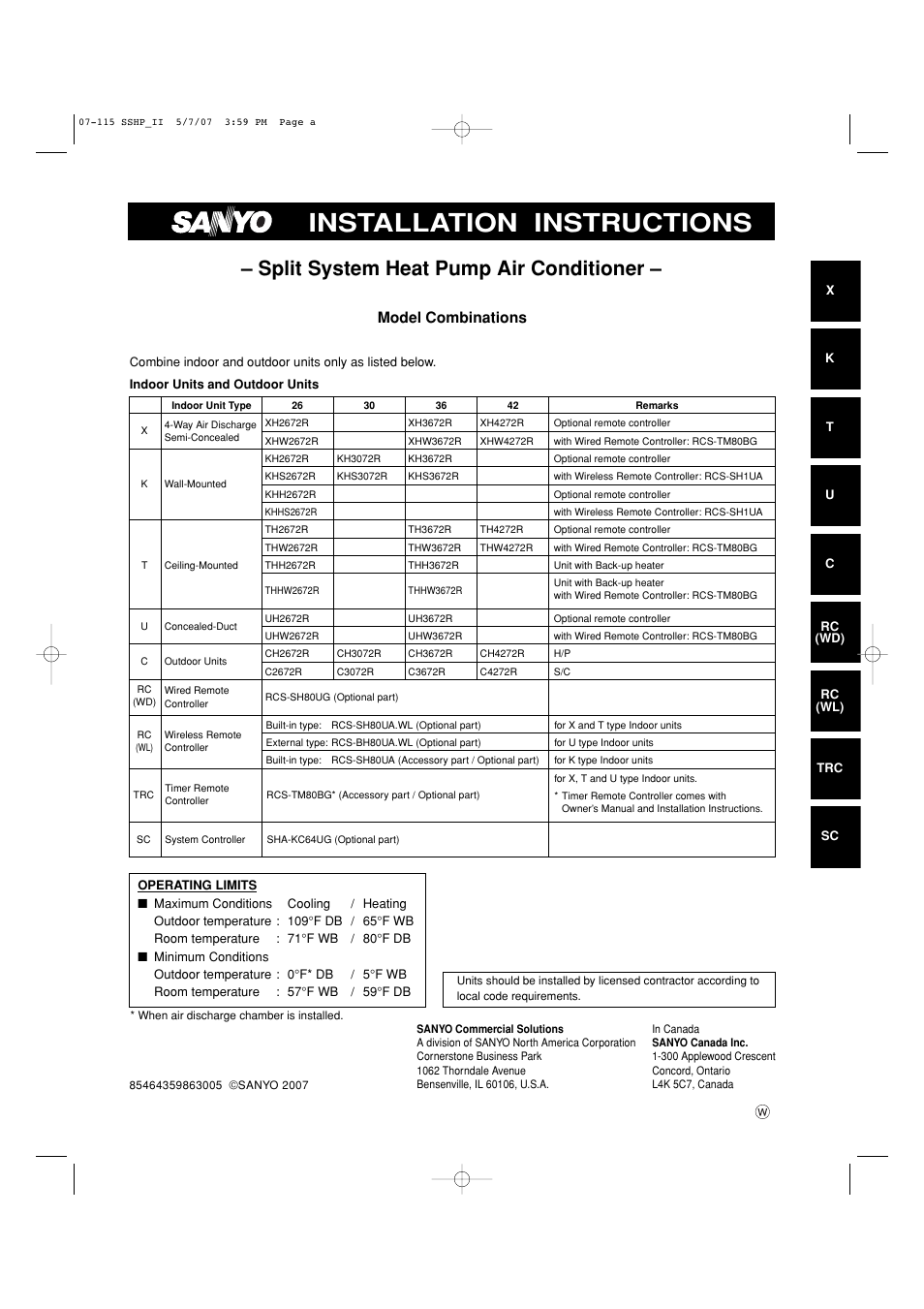 sanyo c4272r s  c user manual 111 pages also for Sanyo HVAC Service Manuals sanyo air conditioner service manual