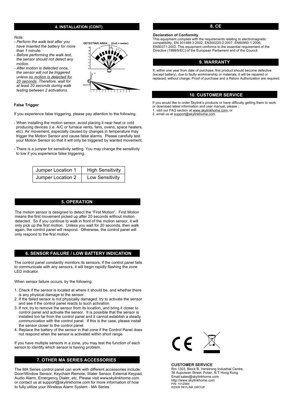 operation customer service installation cont skylink ps 103 rh manualsdir com Skylink Operator Skylink Vibration Sensor