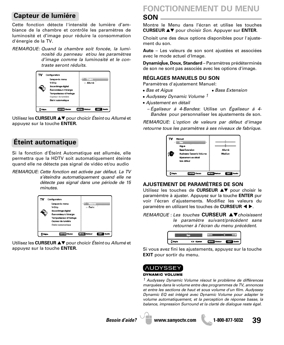 fonctionnement du menu capteur de lumi re teint automatique rh manualsdir com No Picture Sanyo DP42841 Sanyo DP42841 Stand