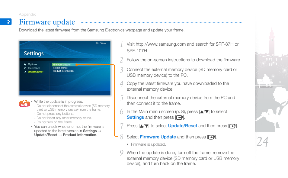 Firmware update | Samsung SPF-87H User Manual | Page 24 / 38