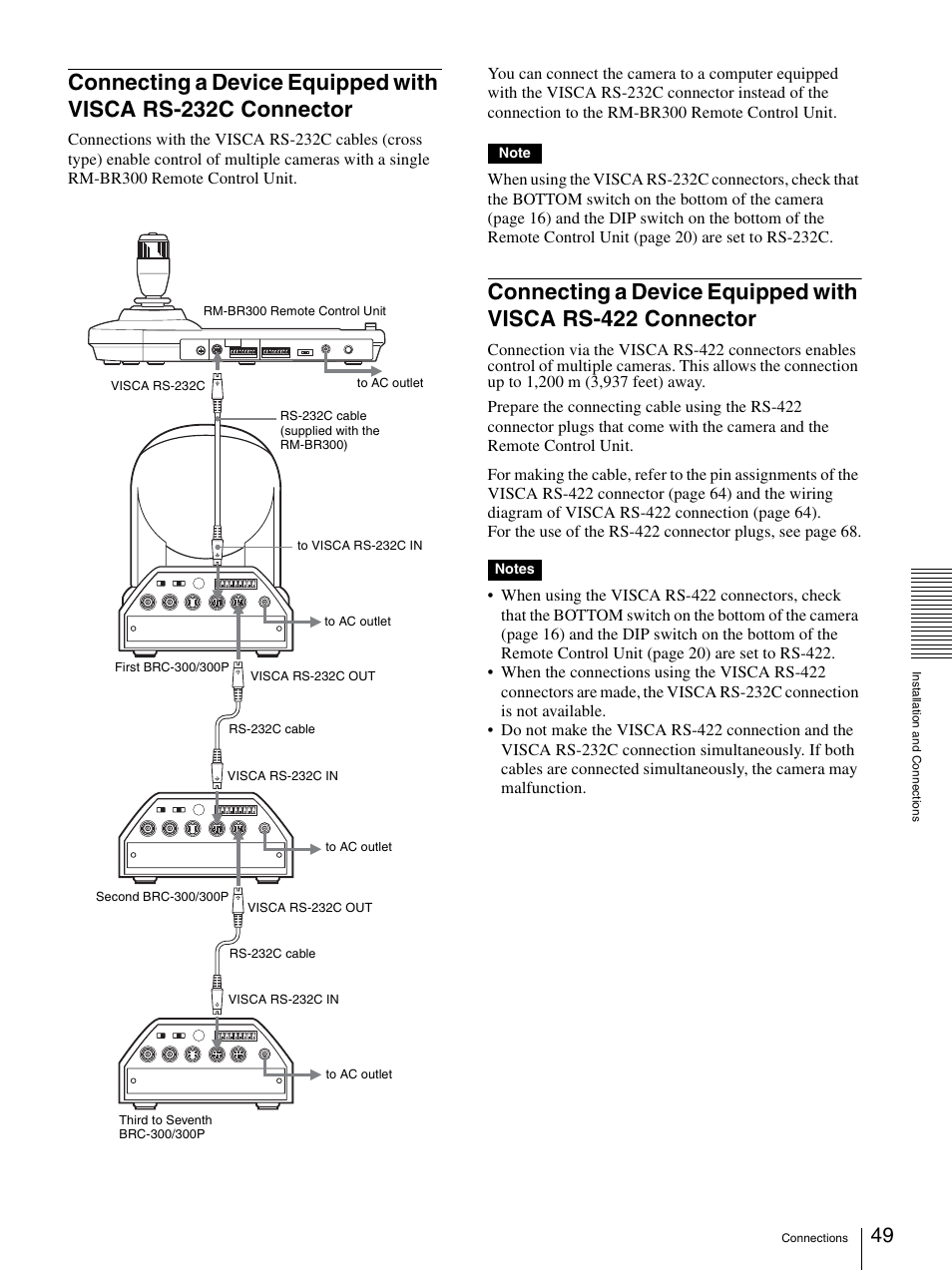 Connecting A Device Equipped With Visca Rs 232c Connector 422 Wiring Diagram Sony 3ccd Color Brc 300p User Manual Page 49 68