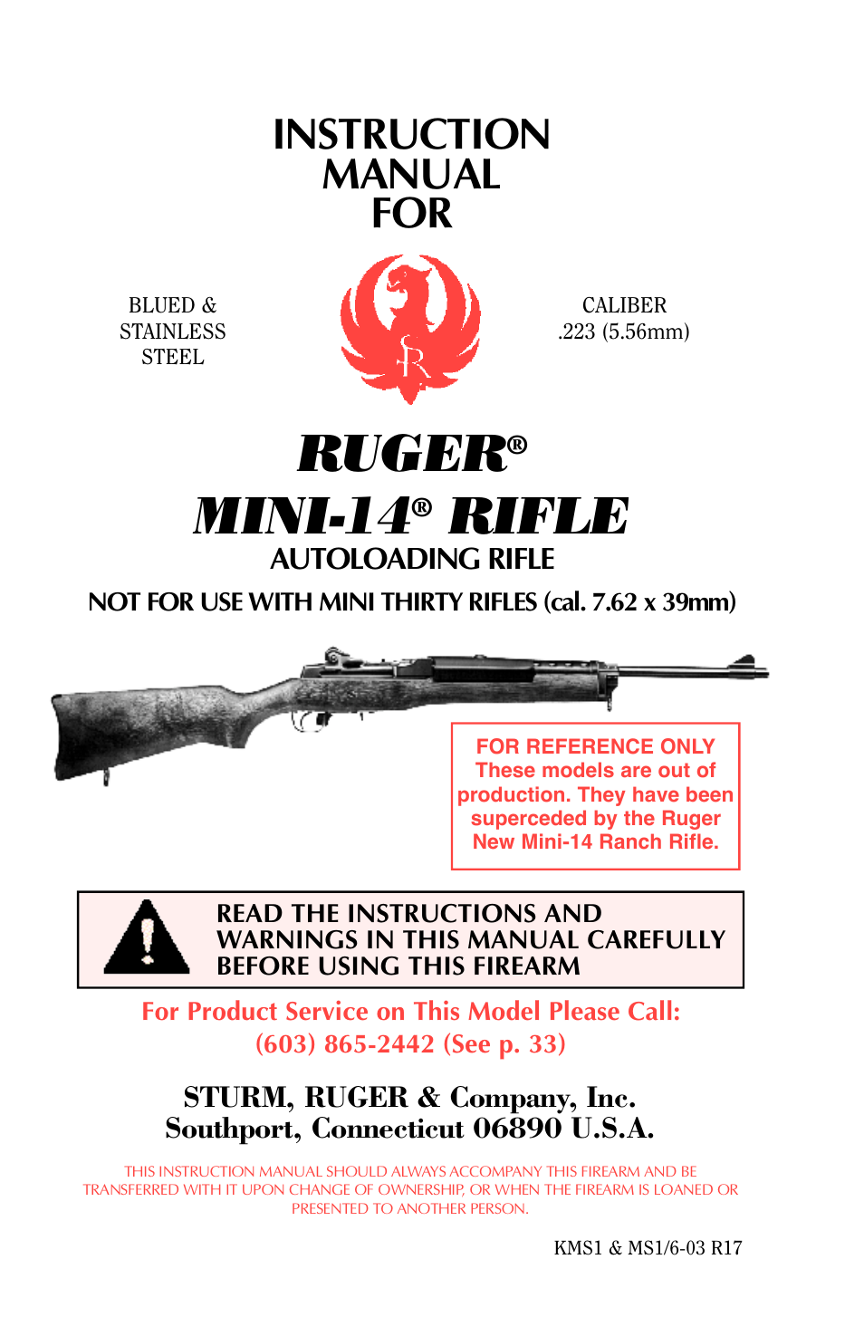 ruger mini 14 user manual 46 pages rh manualsdir com Diagram of Mini-14 Rifle Original Mini-14 Folding Stock