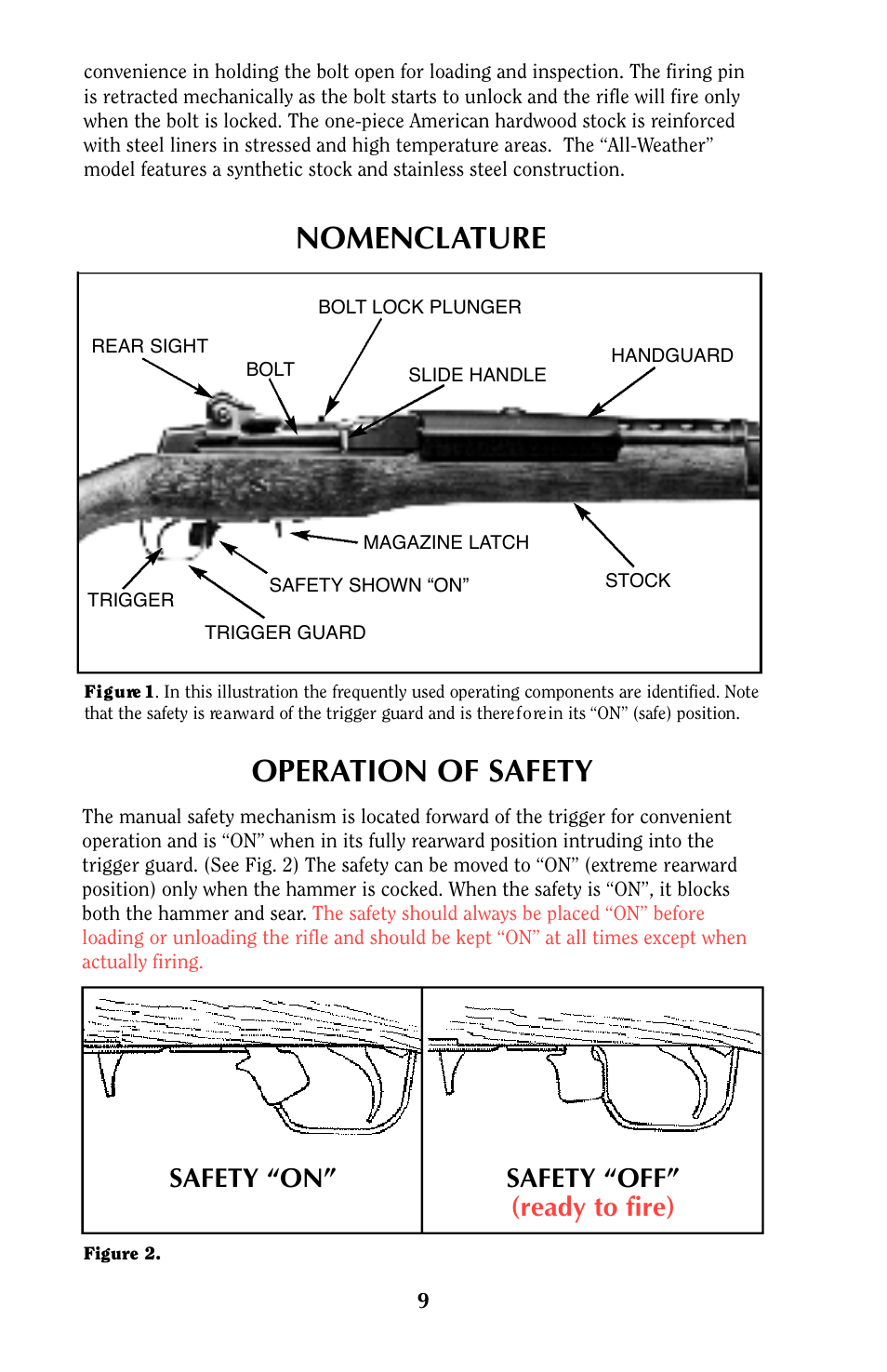 """Nomenclature operation of safety, Safety """"on"""" safety """"off"""" (ready to fire)  