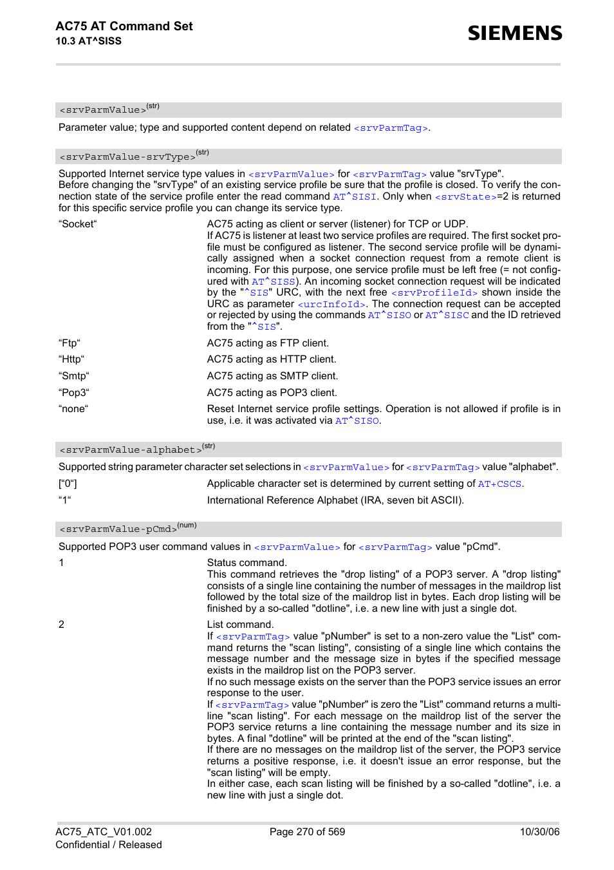srvparmvalue alphabet, srvparmvalue, r to siemens ac75 user manual