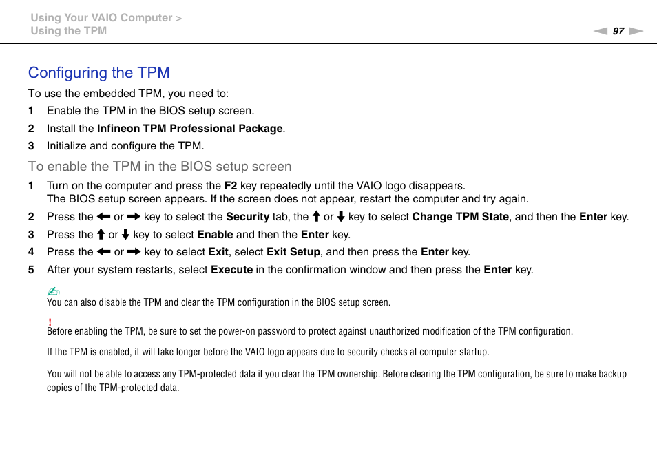 Configuring the tpm | Sony VPCSA Series User Manual | Page