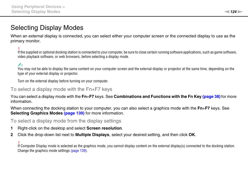 selecting display modes sony vaio vpcz2 user manual page 124 rh manualsdir com Sony Vaio Desktop Computer Sony Vaio Laptop Wallpaper