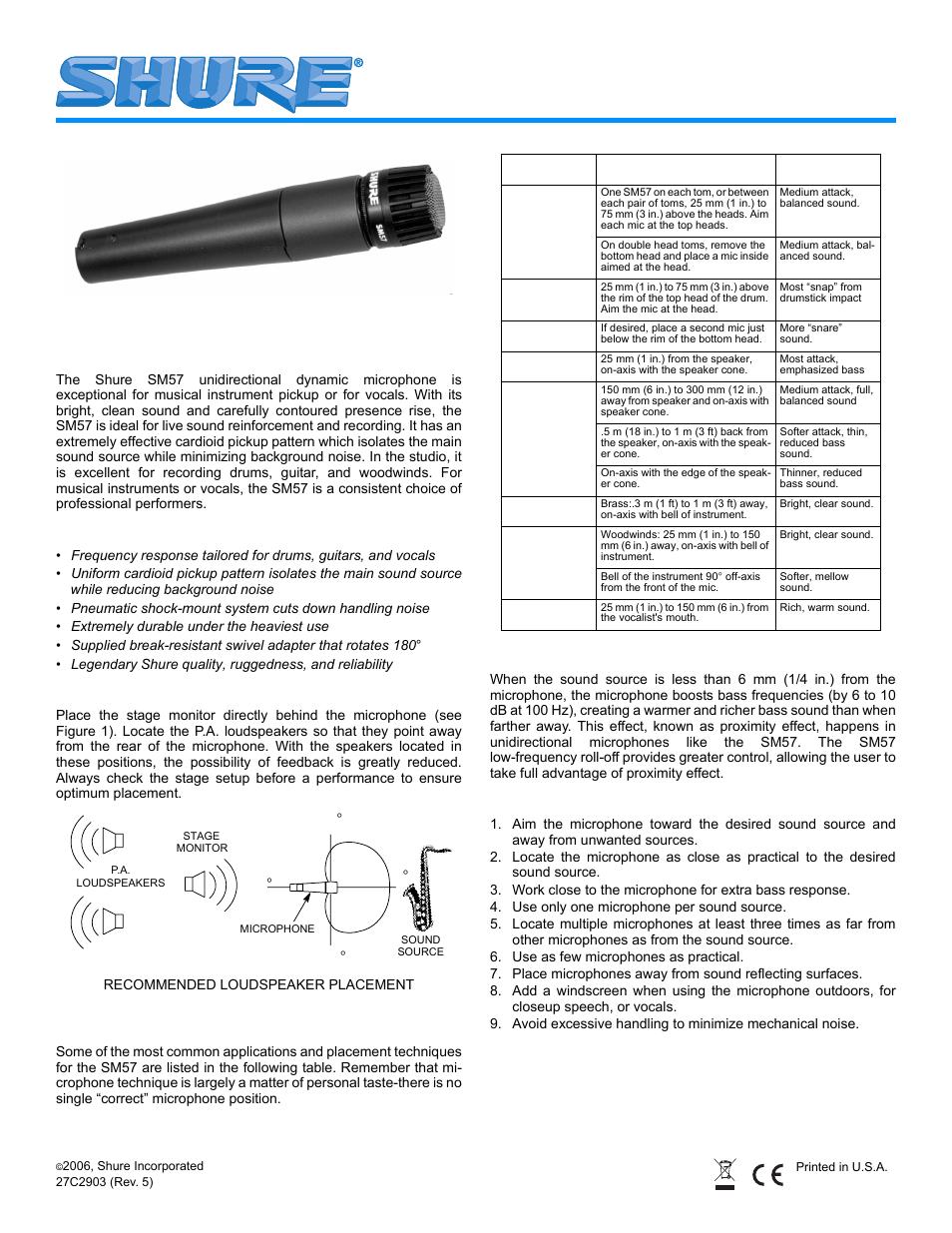 shure sm57 user manual 12 pages rh manualsdir com shure sm57 manual español shure sm57 manual español