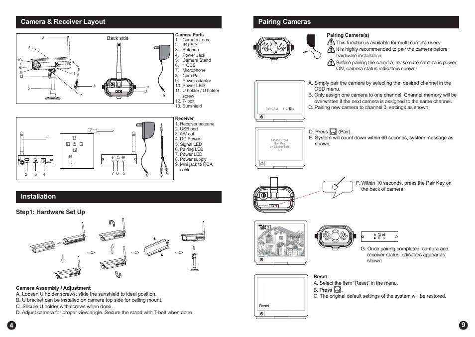 Camera & receiver layout, 4installation, 9pairing cameras