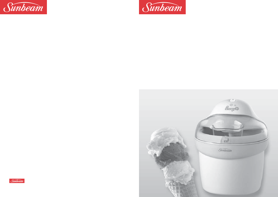 sunbeam snowy gl5400 user manual 12 pages rh manualsdir com Frozen Yogurt KitchenAid Frozen Banana Machine