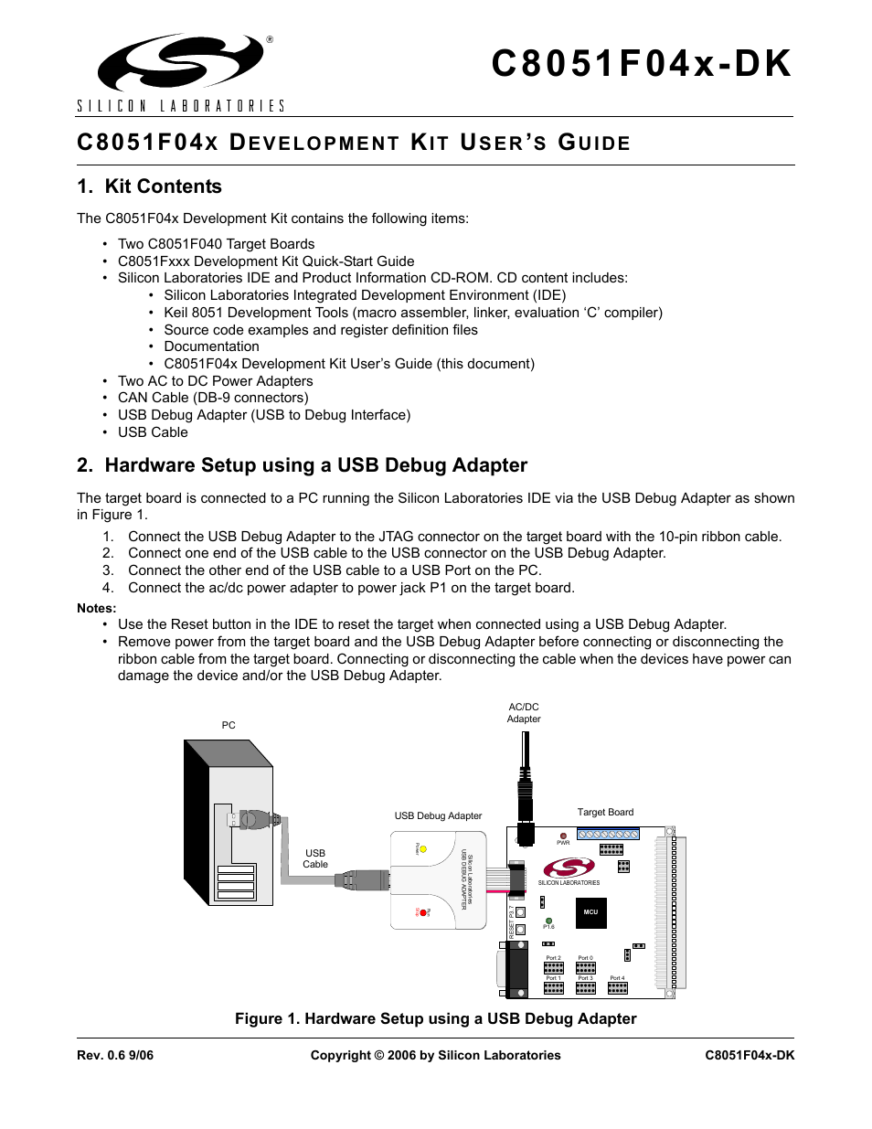 Silicon Laboratories C8051f04x Dk User Manual 16 Pages Usb Debug Cable Schematic