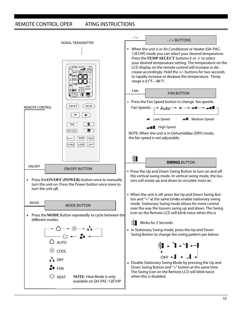Pinguino Portable Air Conditioner With Remote Control Manual Guide
