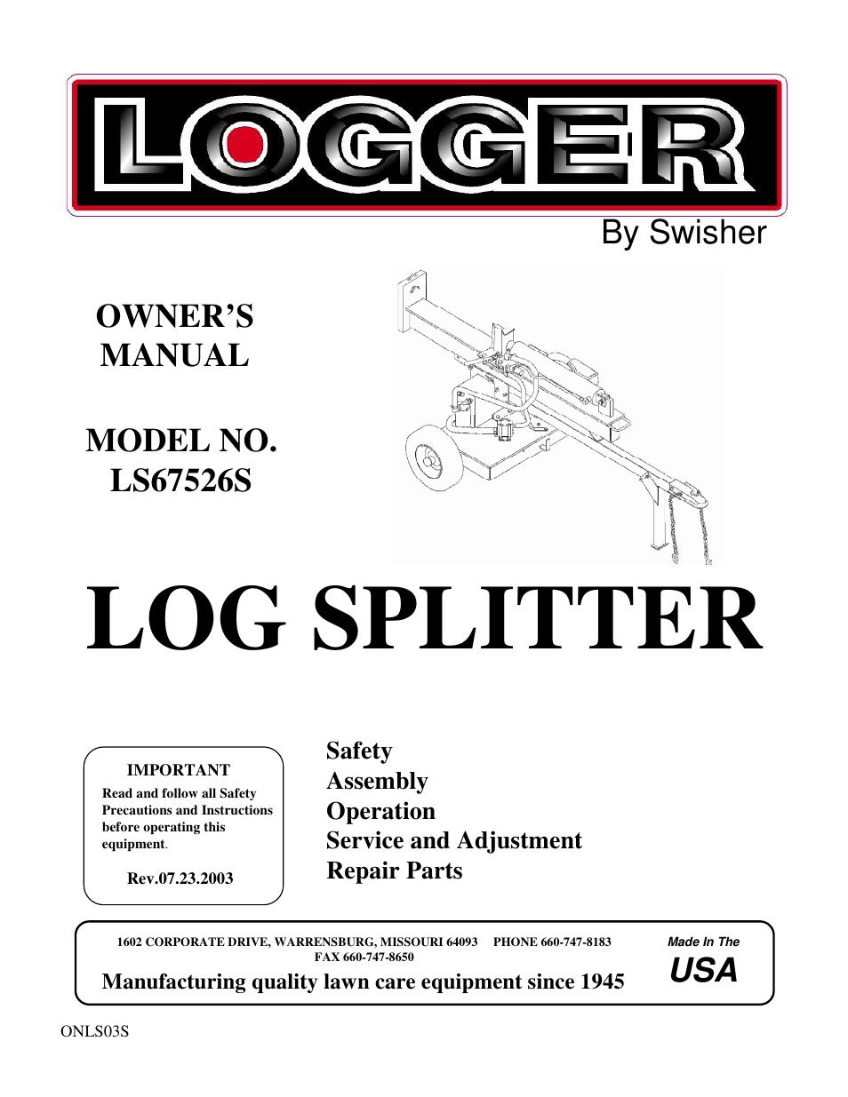 swisher ls67526s user manual 12 pages rh manualsdir com Manual Hydraulic Log Splitter Log Splitter Parts