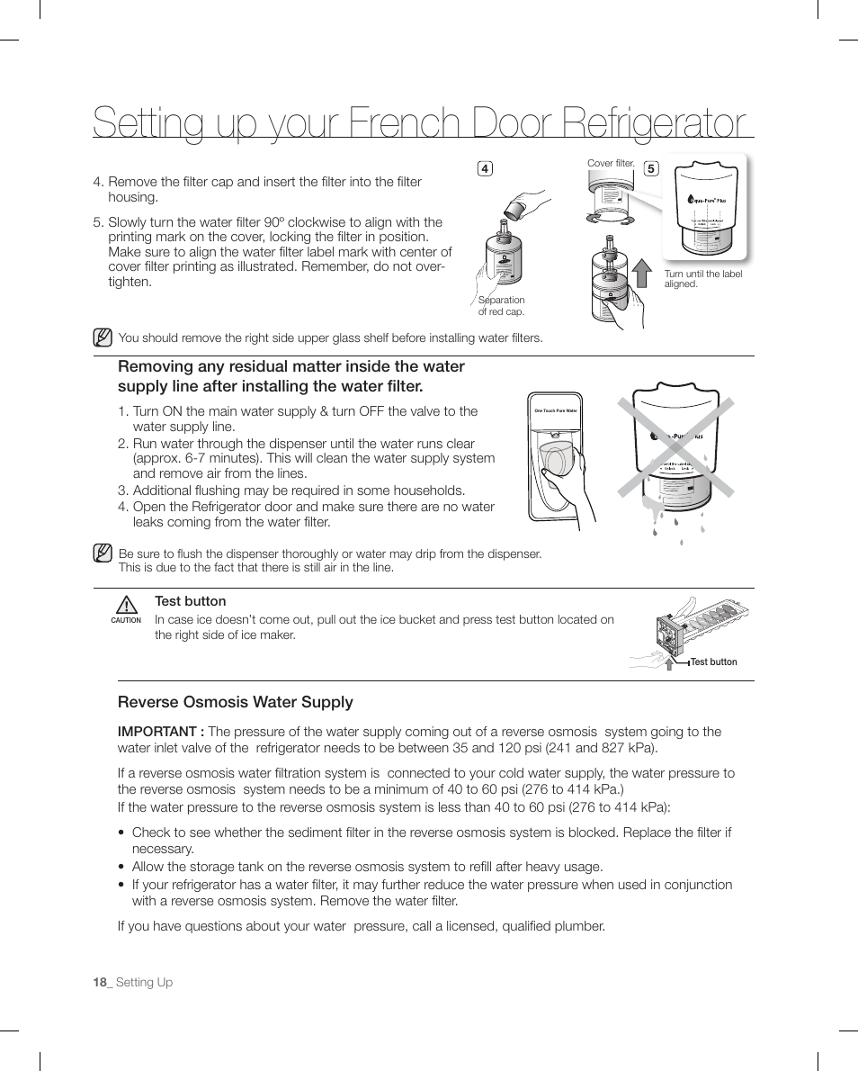 setting up your french door refrigerator reverse osmosis water