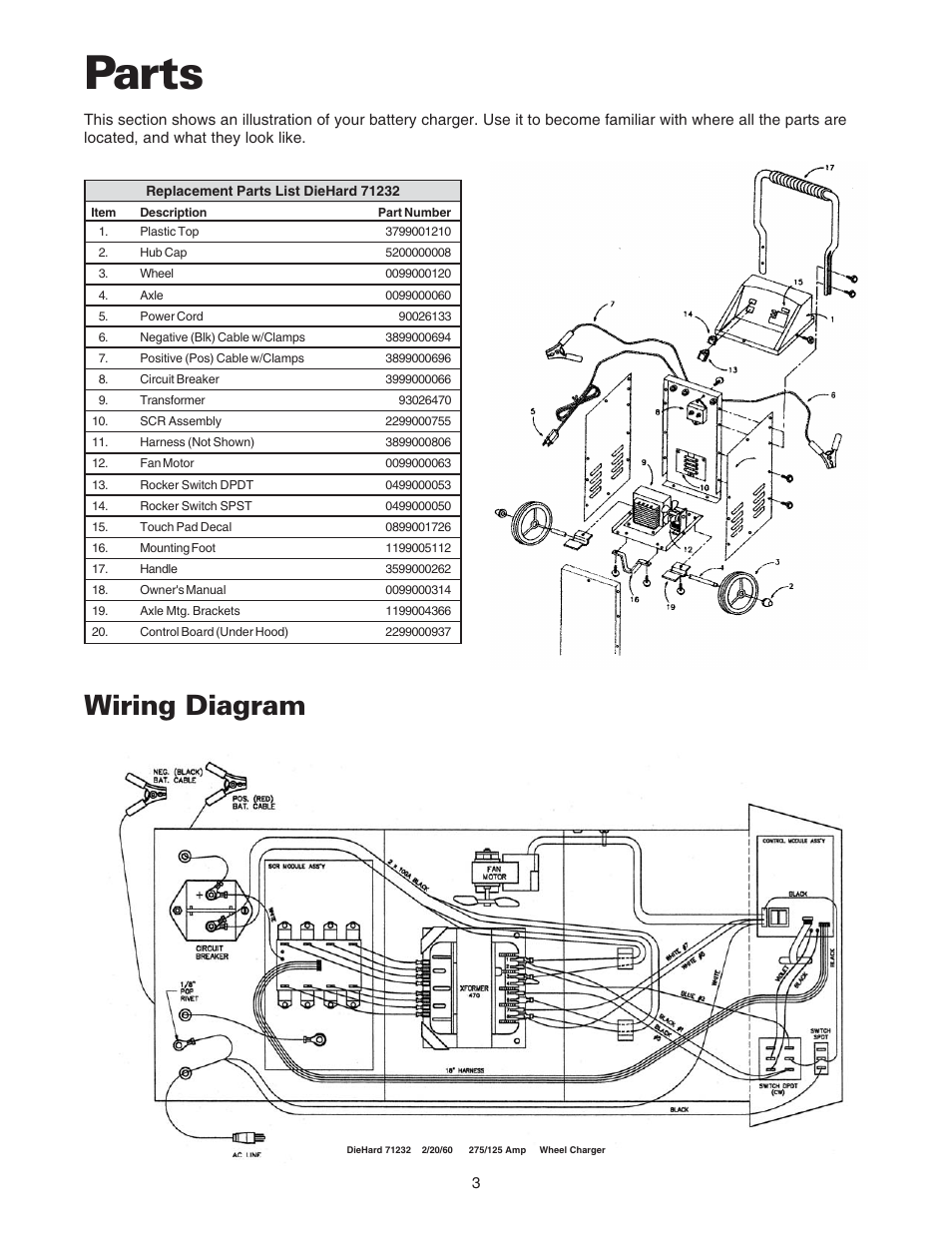 Parts, Wiring diagram | Sears 200.71232 User Manual | Page 5 / 16Manuals Directory