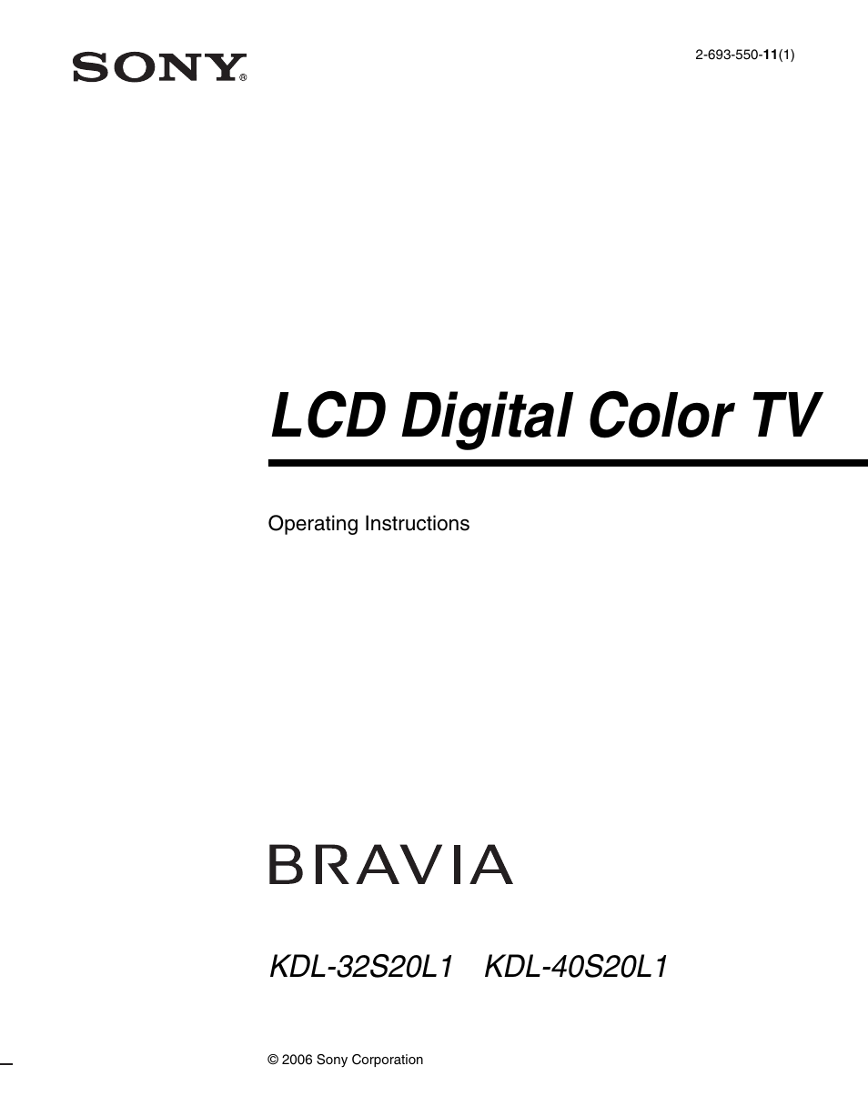 Sony KDL-40S20L1 User Manual   48 pages   Also for: KDL-32S20L1