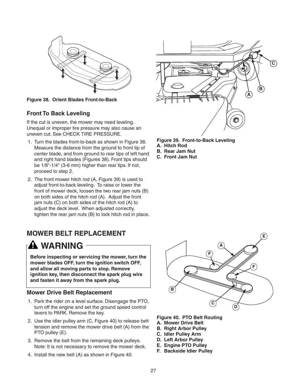 Warning Mower Belt Replacement Snapper 150z Ztr Series User Wiring Diagram For Mowers Manual Page 29 36