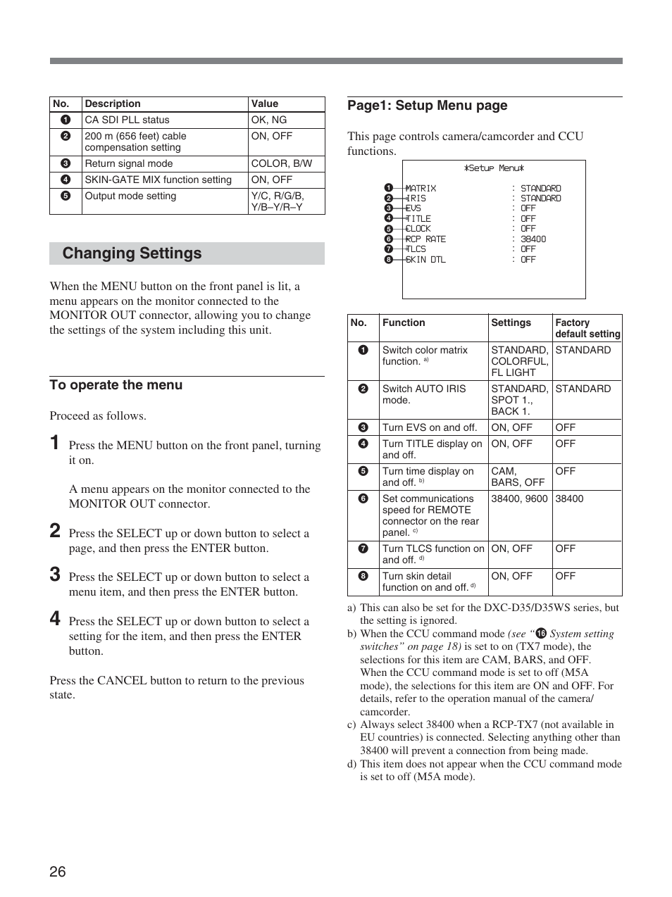 changing settings page1 setup menu page sony ccu d50 user manual rh manualsdir com sony ccu d50 manual pdf Sony Field Recorder