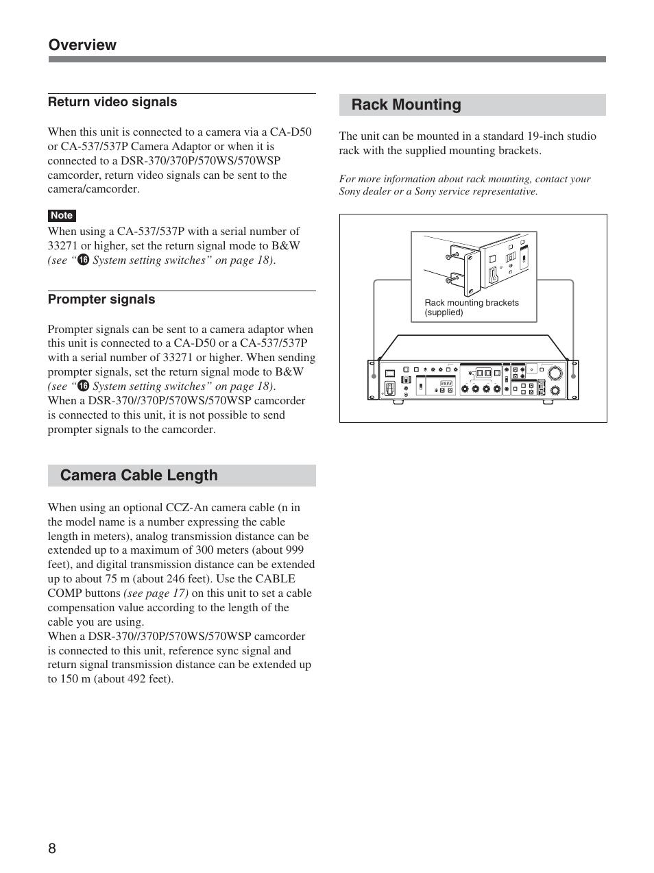sony dsr 300 Array - camera cable length rack mounting overview sony ccu  d50 user rh manualsdir com