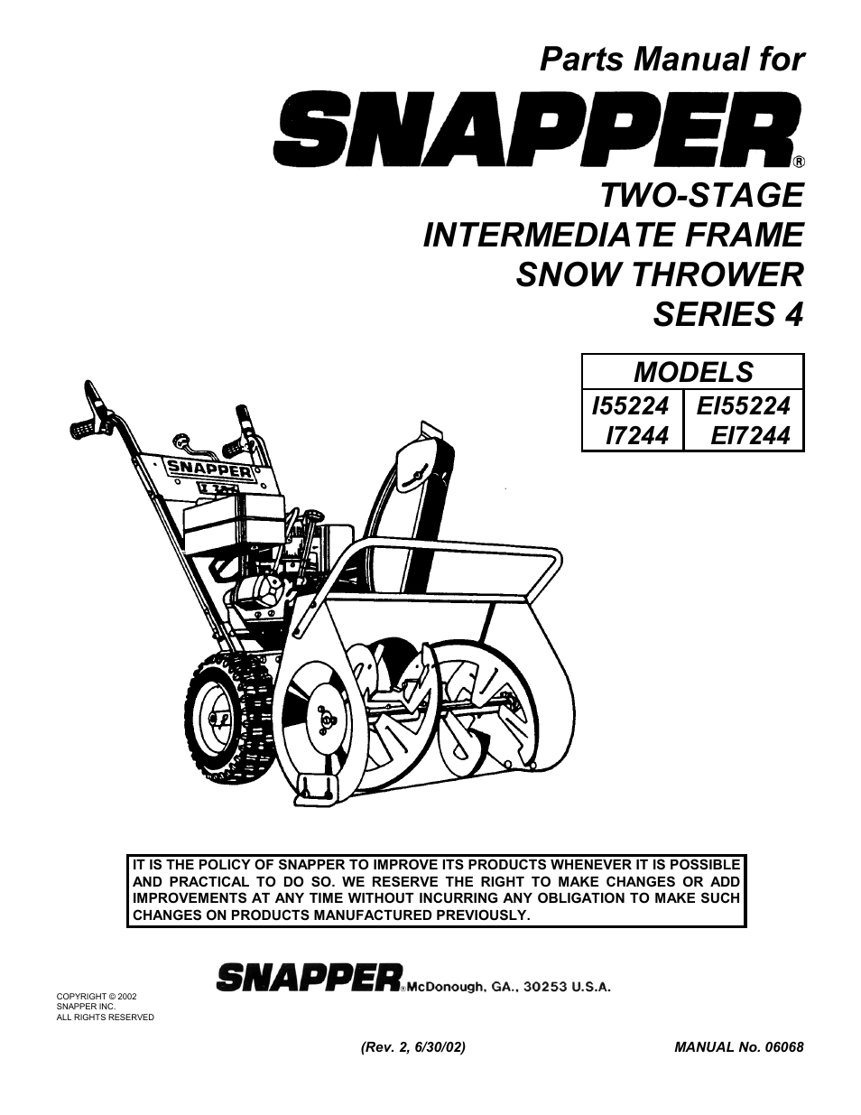 Snapper 155224 User Manual 24 Pages Also For Ei7244 17244 Ei55224 Parts Diagram