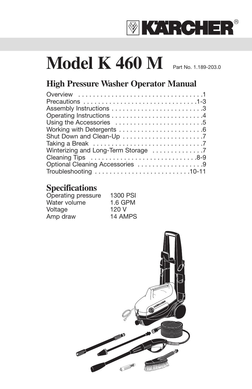 karcher k 460 m user manual 12 pages also for 460 rh manualsdir com Pressure Washer Engine Parts Pressure Washer Pump Parts