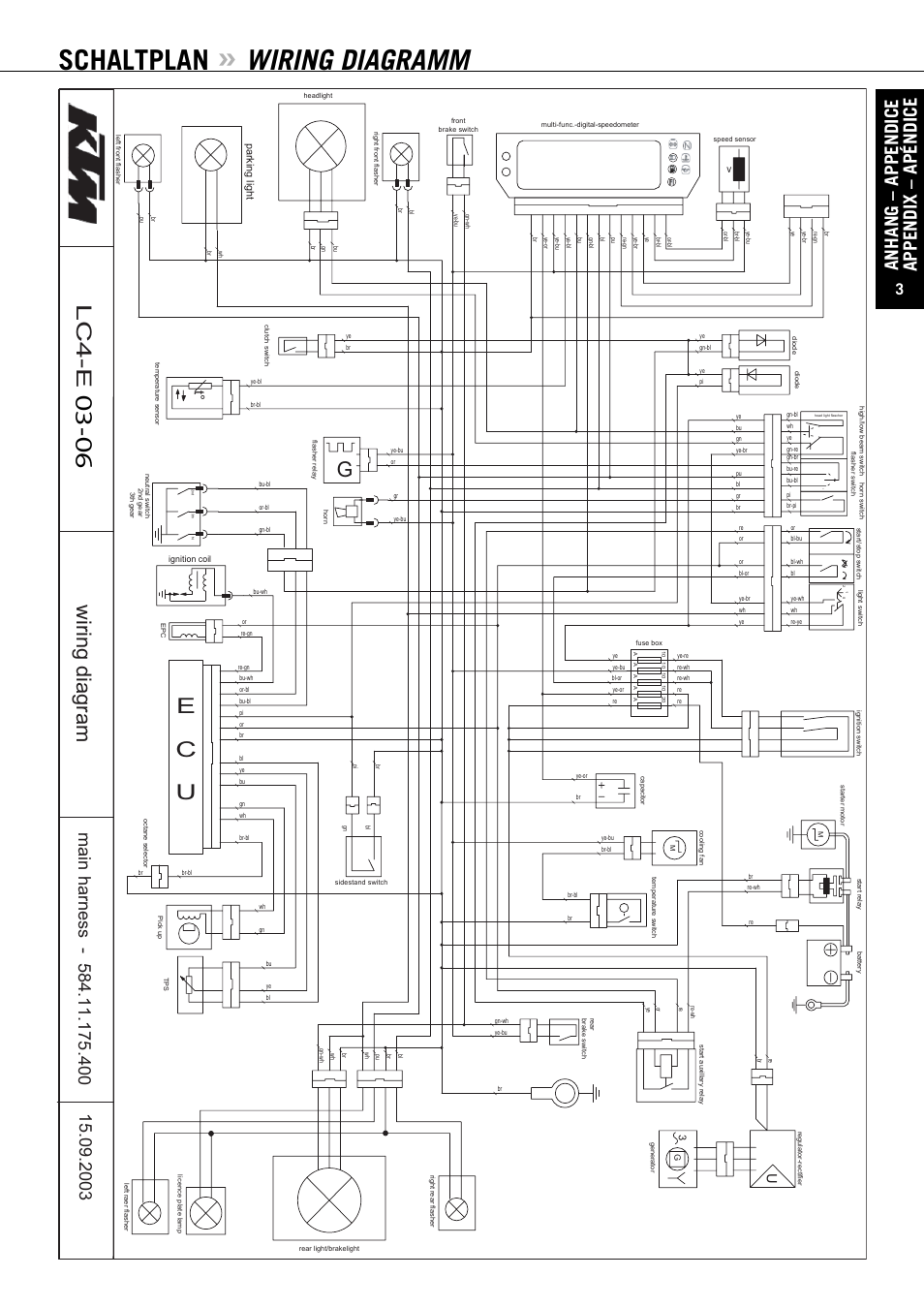 Schaltplan Wiring Diagramm Anhang Appendice Appendix Apndice High Low Beam Switch Diagram Ktm Enduro 640 Lc4