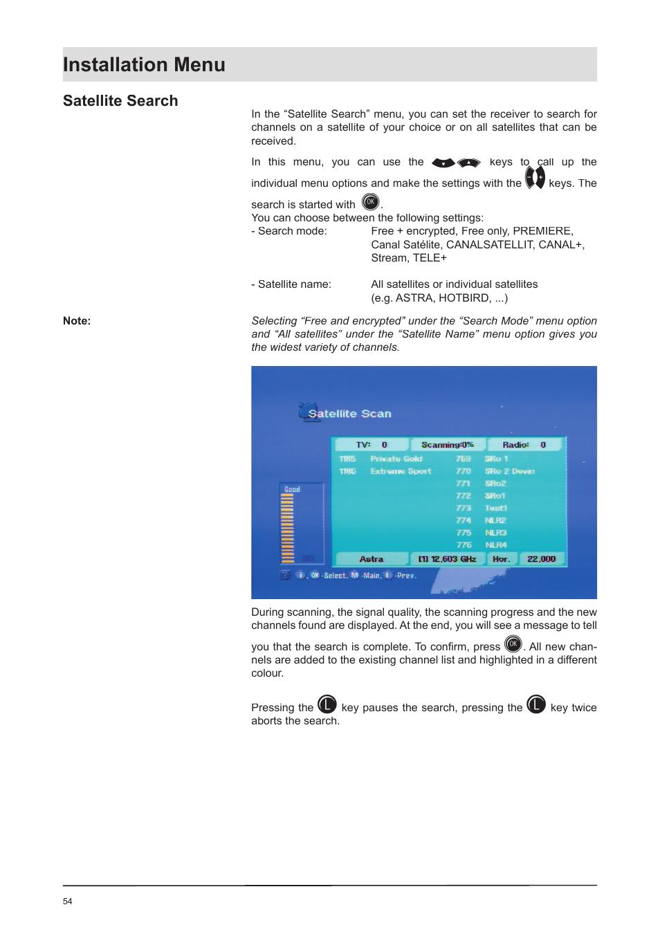 Installation menu, Satellite search   Kathrein UFD 170 User