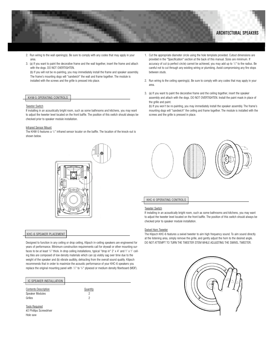 Architectural Speakers Klipsch Khc 6 User Manual Page 3 Wiring Diagrams