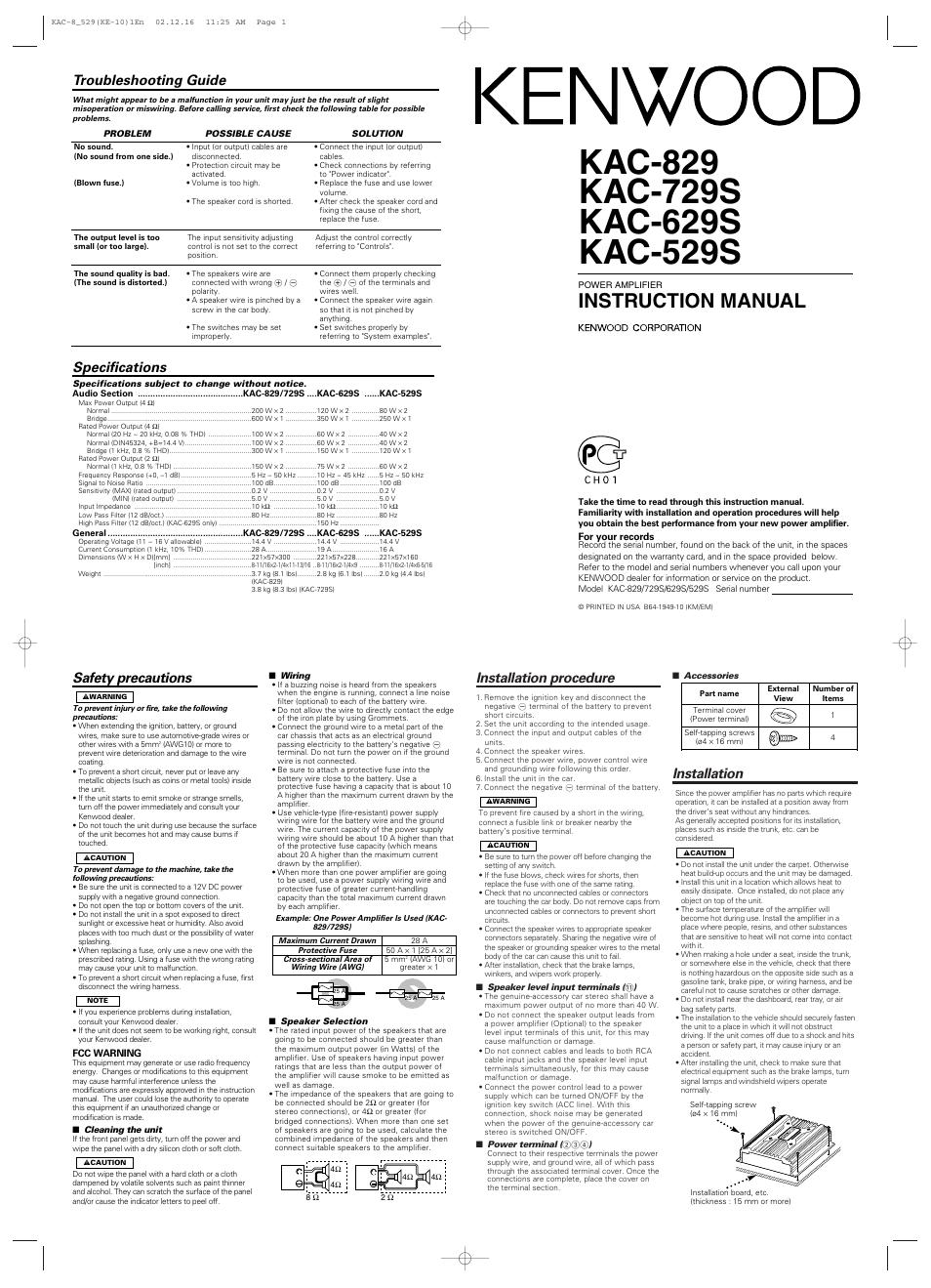kenwood-kac-729s-page1 Car Speaker Wiring on