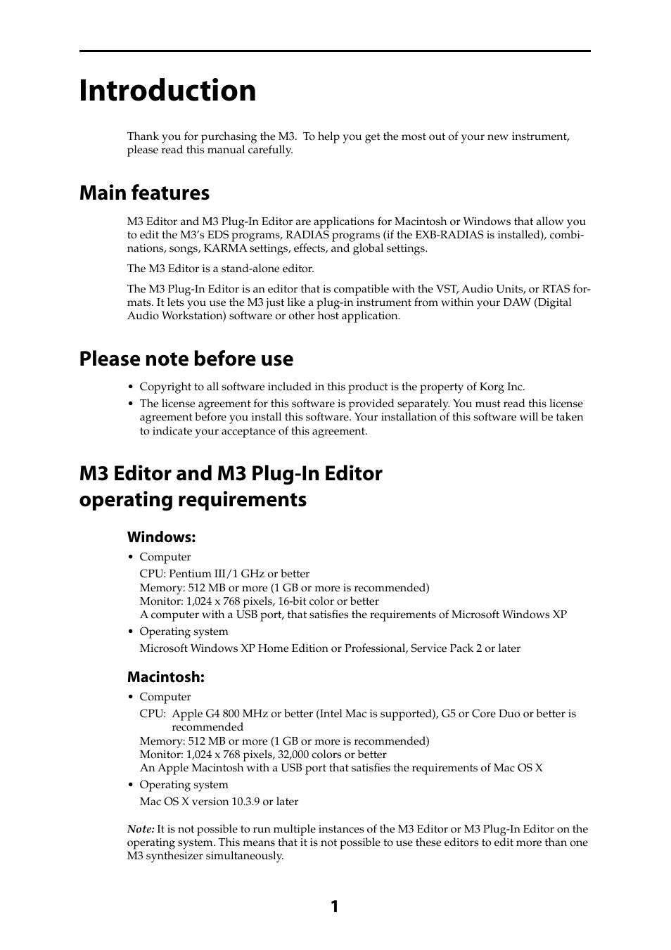 Introduction, Main features, Please note before use | KORG M3 User Manual |  Page 3 / 32