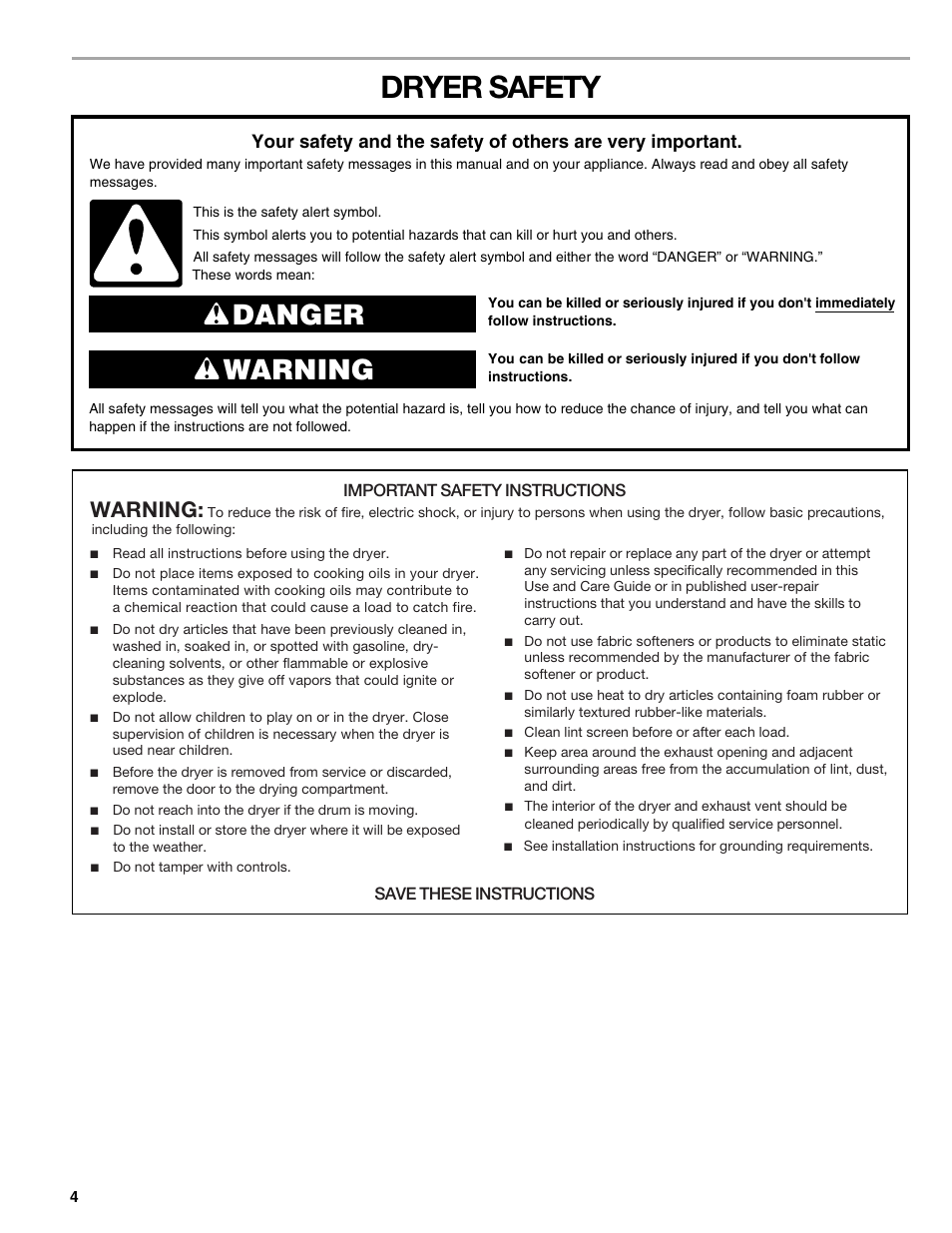 dryer safety danger warning warning kenmore elite he3 110 8789 rh manualsdir com kenmore elite dishwasher user manual Kenmore Elite Washer Manual