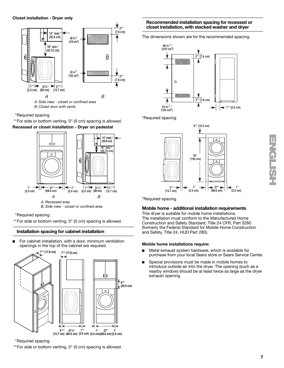 Kenmore 80 Series Dryer User Manual Wiring Diagram 41797912701 Installation Spacing For Cabinet Mobile Home Additional Requirements Elite He3