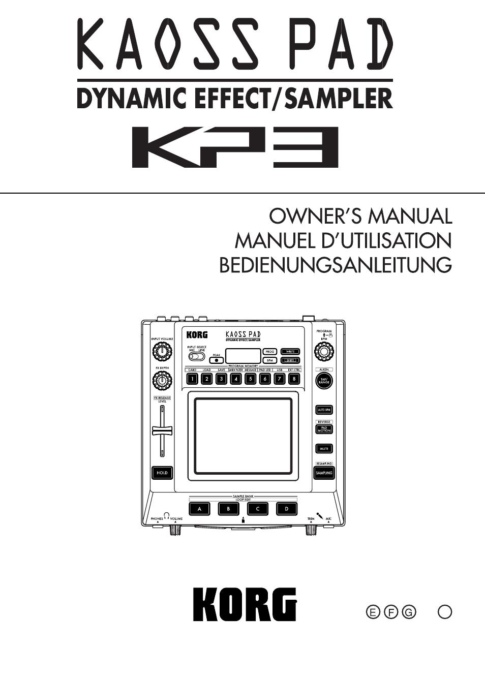 korg kaoss kp3 manual pdf